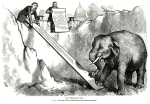 "The ""Third Term"" Trap. Thomas Nast. Published in Harper's Weekly, New York. Wood engraving, June 26, 1875. Political cartoon depicting U. S. Grant and the Pennsylvania party eschewing a third term for Grant, while tryng to lure the Republican elephant up a plank."