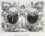 Honor to the Brave. Published by Henry Voight, New York. Two-stone lithograph, 1865. Lith. and printed by Chr. Kimmel & Forster, N.Y.  This celebratory print depicts Columbia holding laurel wreaths above two triple portraits, one with army gnerals William Sherman, U.S. Grant and William Sheridan, the other with naval officers David Porter, David Farragut and Dahlgren.