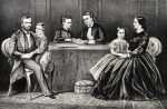 "General Grant and Family. Published by Currier & Ives, 125 Nassau Street, New York. Small folio, hand colored lithograph. 1867. Text above title: ""Gen. Grant.  Jesse Root Grant.  Ulysses Simpson Grant.  Fredk. Dent Grant.  Ellen Wrenshall Grant.  Mrs. Grant."""