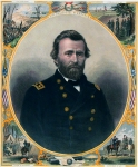 "General U.S. Grant. John C. McRae. Engraved & Published by John C. McRae, 46 Courtlandt St. [New York]. Engraving hand colored, c.1865. Oval decorative portrait of Grant in uniform, under the phrase ""Unconditional Surrender.""  Around his image are scenes of the battles of Vicksburg, Fort Donaldson and Richmond and the surrender of Lee."