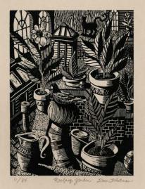 Rooftop Garden. Karen Whitman. Woodcut, 2003. Edition 85.
