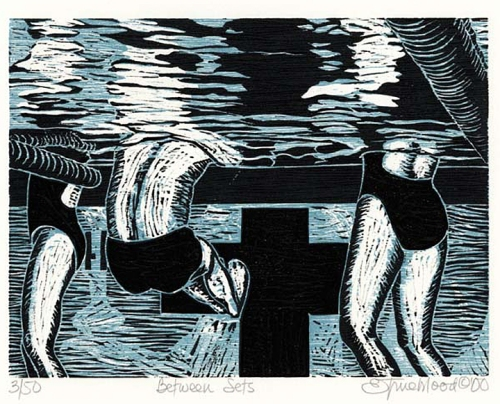 "Between Sets. By Emily Trueblood. Two-block woodcut, 2000. Inscribed ""A.P."" $150.00"