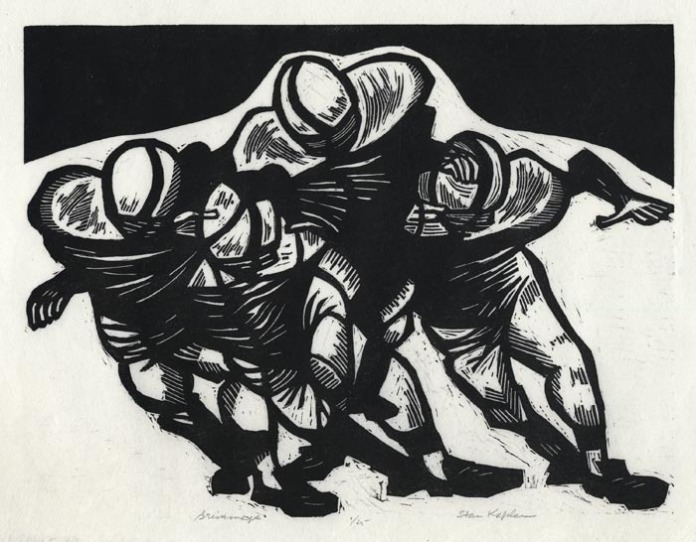 "Scrimmage. By Stanley Kaplan. Linocut, 2007. Inscribed ""6/25."" $200.00"