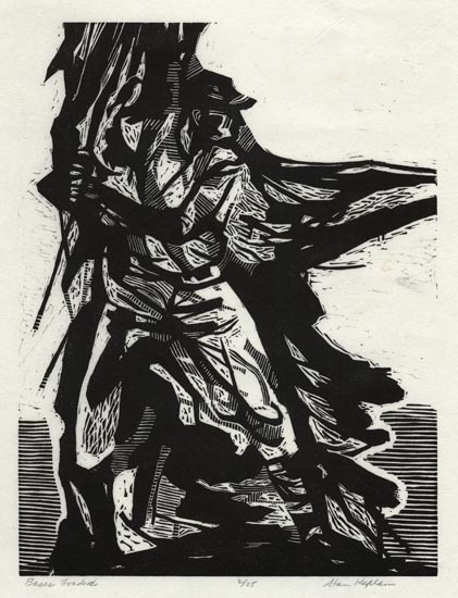 "Bases Loaded. By Stanley Kaplan. Linocut, 2007. Inscribed ""2/25."" $250.00"