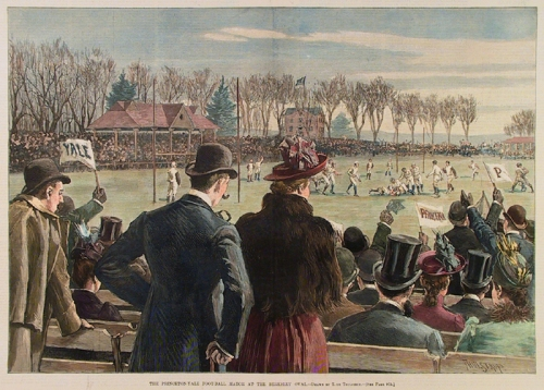 The Princeton Yale Foot-Ball Match at the Berkeley Oval. By T. de Thulstrup. Published by Harper's Weekly, New York. Wood engraving, Dec. 7, 1889. Hand colored double page centerfold. $285.00