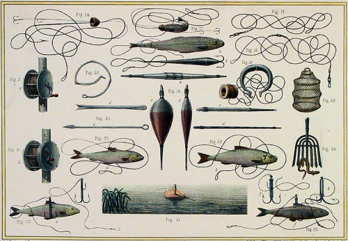 "Fishing Implements. By C. J. Muckersie. Published by Henry Lea & Co., 125 Fleet Street, London. Lithograph, hand colored, c. 1850. Drawn Expressly for the ""The Book British of Field Sports"" by Henry Downes Miles. Lithographed by R. S. Groom, Wilkinson & Co. A composite of fishing lines, reels, lures and bobbers. $195.00"