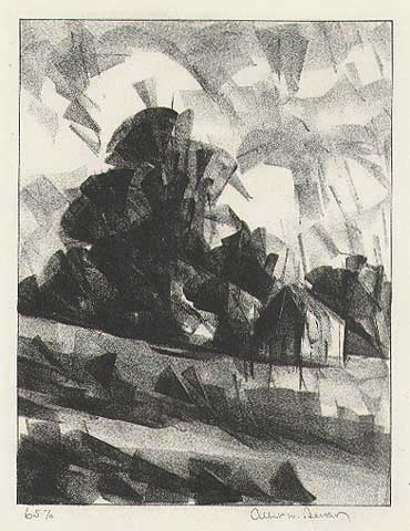 "Modernistic (for E.W.) Shifting Winds. By Albert W. Barker. Lithograph, 1930. Signed in pencil, inscribed ""65 -/6."" $300.00"