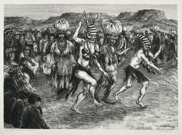 Harvest Dance at San Juan Pueblo.  [San Juan Thanksgiving Dance]. By Ira Moskowitz. Lithograph, 1948. Edition 30.