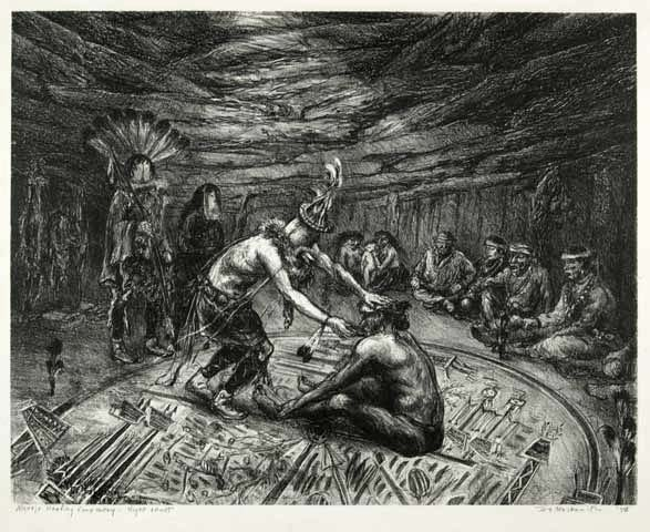 The Healing Ceremony Inside Hogan - Navajo.   [Navajo Healing Cermony - Night Chant]. By Ira Moskowitz. Lithograph, 1946. Edition 30.