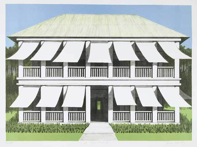 La Casa Vivienda. By Emilio Sanchez. Color lithograph, undated.