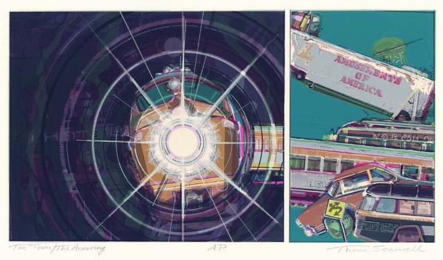 The Town / The Arriving. By Thomas Seawell. Silkscreen, 1982. Signed, titled, and in pencil.  Diptych. $300.00.
