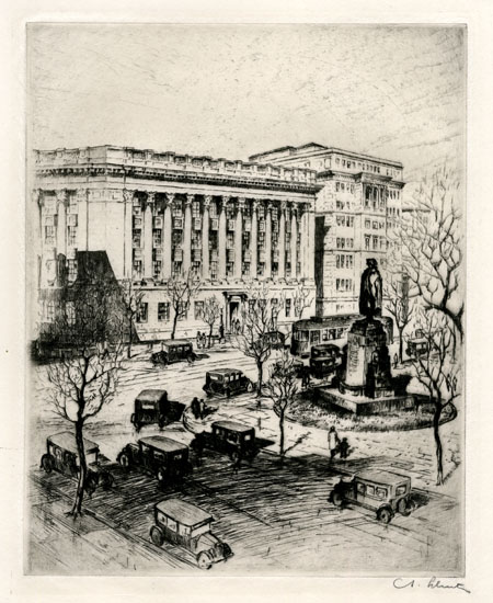 U. S. Chamber of Commerce, Washington. By Anton Schutz.  Etching, 1928. Signed in pencil. On wove paper. $275.00.