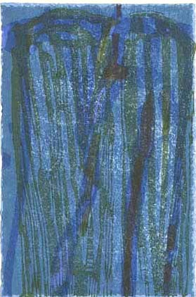 "Water 1. By Judy Mensch. Woodblock, 1998. Seven blocks, ten passes, eight colors.  Signed in pencil. Inscribed ""3/3."" $300.00"