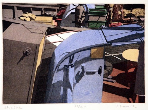 "Blue Deck. Sidney Hurwitz. Handcolored aquatint, 1994. Inscribed ""22/25."" $700.00."