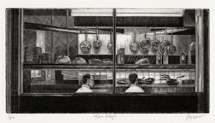 "Restaurant. By Armin Landeck. Engraving, 1951. Signed and titled in pencil. Inscribed ""Ed. 100.""  $2,500.00"