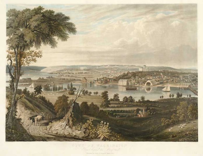 City of Washington : From beyond the Navy Yard.  By  George Cooke. Eng'd by W. J. Bennett. Published by Lewis P. Clover, 180 Fulton St. N.Y. Aquatint engraving, 1834. One of the great views of the Nation's Capital.  Washington is shown from the south bank of the Anacostia River.  On the right is the Washington Navy Yard, est. 1799, behind is the original Capitol Building and to the left is the White House. The painter of this view is George Cooke. He and the engraver, William Bennett, teamed up to produce four folio-size views of American cities. $40,000.00.