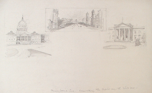 Pennsylvania Ave. Connecting the Capitol and the White House. By Vernon Howe Bailey. Pencil and wash drawing, c.1930. $900.00.
