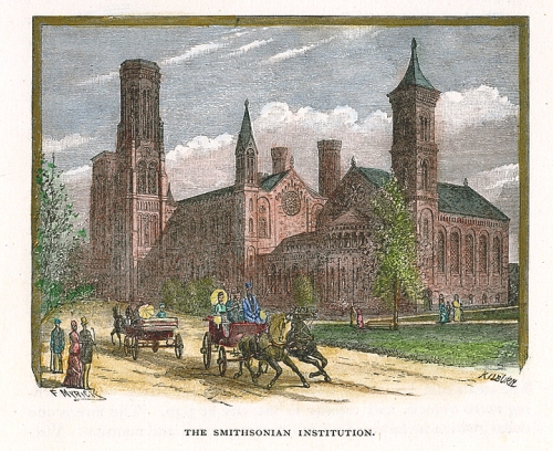 "The Smithsonian Institution. Published by J. A. & R. A. Reid, Providence. Wood engraving, hand colored, 1884-90. This is the original, Smithsonian castle building.From ""Picturesque Washington"" by Joseph West Moore. $65.00"