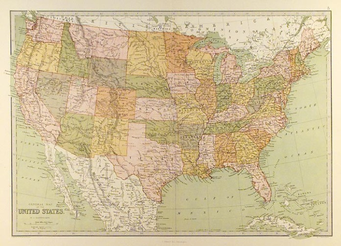 "General Map of the United States. By John Bartholomew. Published by T. Ellwood Zell, Philadelphia. Chromolithograph, 1873. From "" Zell's Descriptive Hand Atlas of the World."""