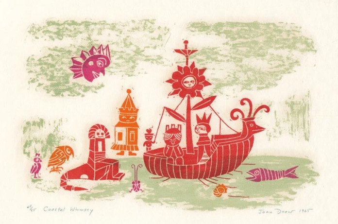 "Coastal Whimsey. By Joan Drew. Serigraph, 1965. Inscribed ""44/55."""