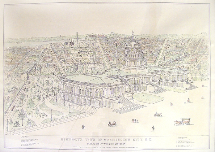 Bird's-Eye View of Washington City, D.C. By George A. Morrison. Published by W.H. & O.H. Morrison, Washington, DC. Stone engraving, hand colored, 1872. Bird's-eye view looking west from behind the Capitol, which is shown with its new dome and extensions. A 16-item key identifies such landmarks as the Smithsonian Castle, Wasihngton Monument, Botanical Gardens, State Department and Treasury Building. Currently framed. $1,150.00.