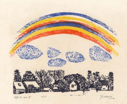 "After the Rain II. By Antonio Frasconi. Woodcut, 1969. Inscribed ""ed. 25."" $600.00."