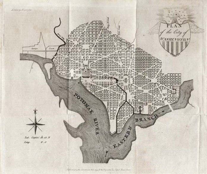 "Plan of the City of Washington. By J. Good. Published by J. Good for inclusion in the ""Literary Magazine,"" London. Copper plate engraving, Feb. 1, 1793. On January 24, 1791, President George Washington announced the Congressionally designated permanent location of the national capital, a diamond-shaped ten-mile tract at the confluence of the Potomac and Eastern Branch Rivers. The first five maps were engraved and printed in America, the sixth, seventh and eighth in London. This is the seventh printed view and appeared in the 1793 edition of the ""Literary Magazine And British Review,"" British produced monthly periodical. The rather primitively engraved Eagle and shield cartouche adds a decorative element to this particular map and visually separates it from the American imprints of publishers Thackera & Vallance, Hill and Tiebout. A scarce and unusual map. $4,500.00"