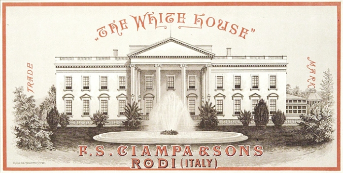 The White House - Trade Mark - F. S. Ciampa & Sons - Rodi (Italy). Published by F.S. Ciampa & Sons, Rodi, Italy. Multi-stone lithograph, Undated, c.1890. An interesting advertisement for the Italian shipping firm of F.S. Ciampa & Sons. They were major fruit exporters from Sorrento-Messina-Rodi regions of Italy. This advertising sheet was likely produced to be pasted onto cartons of fruit. $700.00