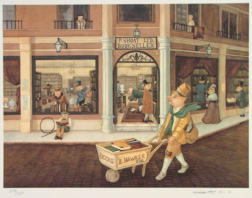 "Pig Bookseller. (Supplied title). Color lithograph, 1980. Whimsical scene of a street book vendor passing the store of ""P. Sloat Ltd.  Bookseller.""  All of the characters pictured are pigs.  Signed, ""Hartt '80"" in pencil and inscribed ""239/250."" $185.00"