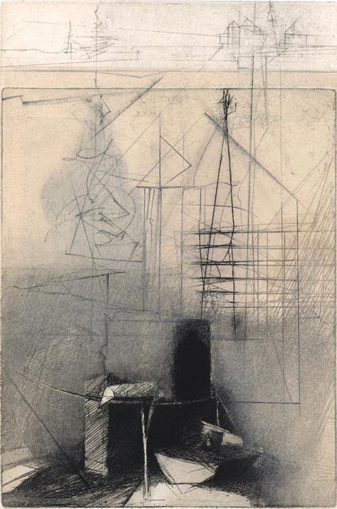 "Line, Rope, Ladder - Alone. By Brad Widness. Etching, aquatint, drypoint, polymer image, chine colle on Sommerset Satin. Inscribed ""A/P (unique)."" $500.00"