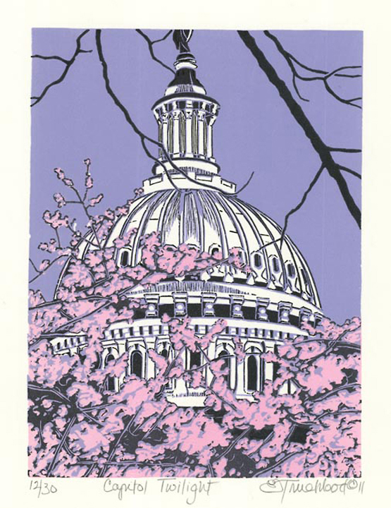 "Capitol Twilight. By Emily Trueblood. Three-block linocut, 2011. Signed, titled, and dated in pencil. Inscribed ""15/30."" Emily Trueblood was born in Arlington, VA, and grew up in the Washington DC area. $225.00."