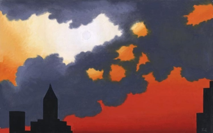 New York Skies. By Emilio Sanchez. Watercolor and gouache, undated.
