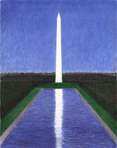 [Untitled.] Washington Monument with Mall. By Emilio Sanchez (1921-1999). Pencil drawing, undated. A striking night scene of the Washington Monument and Reflecting Pool. $1,200.00