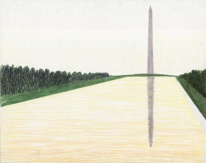 [Untitled.] Washington Monument with Mall. By Emilio Sanchez. Pencil drawing, undated.