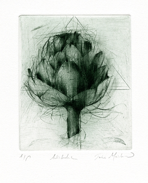 "Artichoke. By Jake Muirhead. Etching and drypoint on German Etch paper, 2011. Green ink.  Inscribed ""A/P.' $250.00"