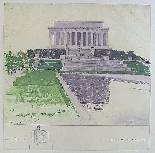 Washington, The Lincoln Memorial. By Max Pollak. Color etching and aquatint, c.1945. An attractive print, depicting the exterior of Lincoln Memorial. In the lower left of the print there is a vignette of the seated statue of Lincoln (sculpted by Daniel Chester French in 1920).  Signed by artist in lower right. $850.00