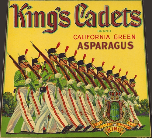 King's Cadets Brand. California Green Asparagus. Color lithograph. c. 1930's. A very detailed label with marching cadets. Has beautiful gold trim and is very ornate. ORIGIN: Clarksburg, Sacramento Delta, CA. SHIPPER/GROWER:  F.S. and F.E. King. Original fruit crate label. Before the use of mass produced cardboard boxes, fruit growers, packers and shippers printed labels and attached them to the wooden fruit crates or boxes used in shipping.$35.00