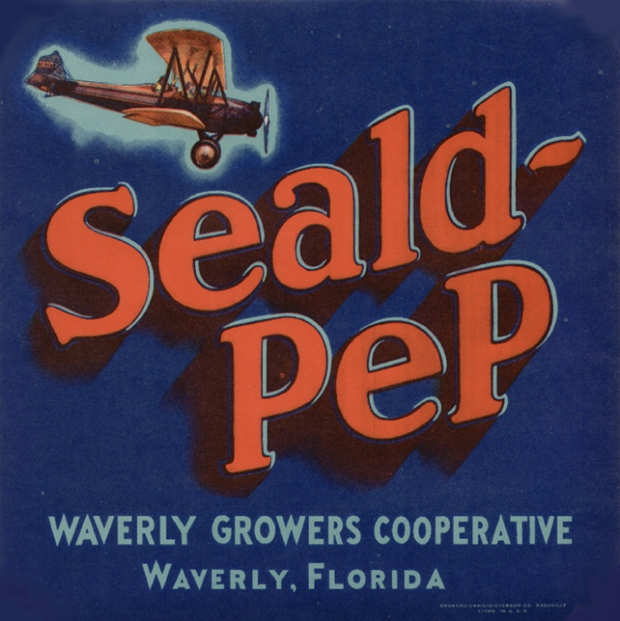 Seald-Pep. Waverly Growers Cooperative. Color lithograph, c. 1930's. Image of old plane in flight. ORIGIN: Waverly, FL. SHIPPER/GROWER: Waverly Growers Cooperative. Original fruit crate label. $12.50.