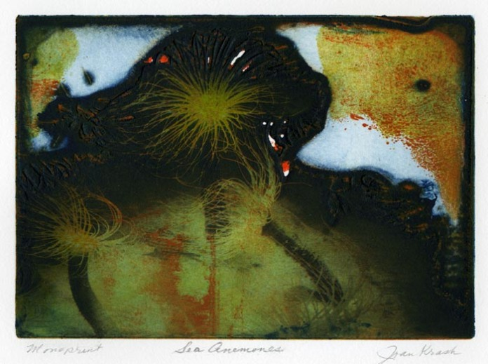 "Sea Anemones. By Joan Krash. Solarplate etching, monoprint on Rives BFK paper, 2010. Inscribed ""monoprint.""  Framed by artist. $275.00."