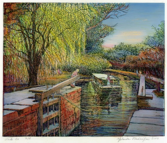 "Lock 20. (C&O Canal). By Yolanda Frederikse. Screenprint on BFK Rives paper, 2006. Signed, titled and dated in pencil. Inscribed ""2/8."" Yolanda Frederikse is a local printmaker, working out of Maryland. Lock 20 on the C&O Canal is located in Potomac Maryland, near Great Falls. $325.00"