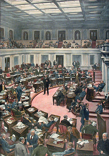The United States Senate in Session. Published by Harper's Weekly. Hand colored offset engraving, Sept 22, 1894. Double page. $425.00
