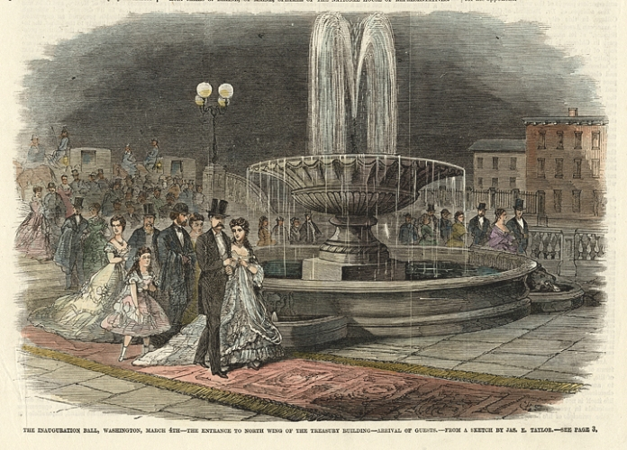The Inauguration Ball, Washington, March 4th. The Entrance to North Wing of the Treasury Building. - Arrival of Guests. By James E. Taylor. Published by Frank Leslie's Illustrated Newspaper. Wood engraving, 1869. [Ulysses S. Grant].