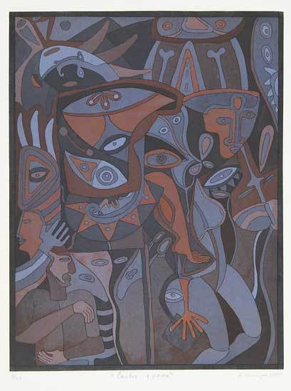 Cantos y Voces. By Karima Muyaes. Two-color etching and aquatint, 2005.
