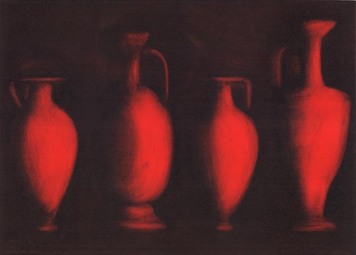 Four Dark Red Vases. By Susan Goldman. Monotype, 2003.