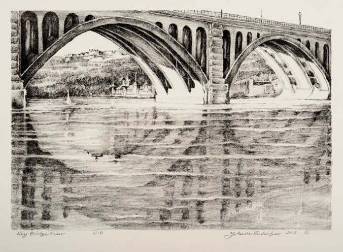 View From Key Bridge. By Yolanda Frederikse. Stone lithograph, 2011.
