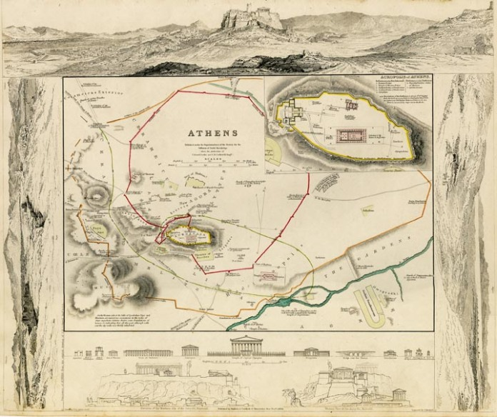 Athens. Published by Baldwin & Craddock for the SDUK, London. Engraving. hand colored, 1832.