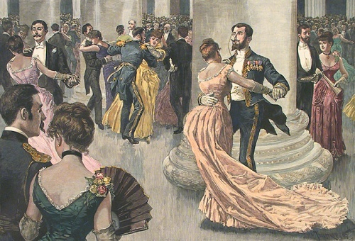 The Inauguration Ball. By G. W. Peters. Published by Harper's Weekly. Handcolored wood engraving, 1893.