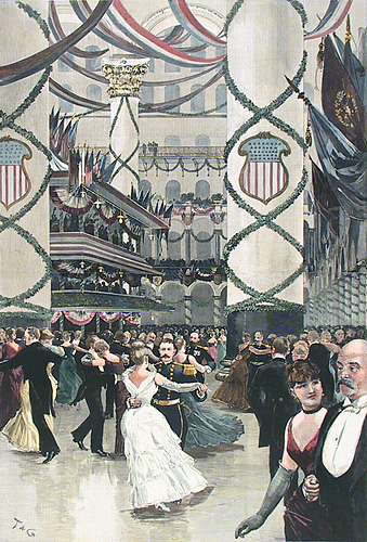 The Inauguration Ball in the Pension Building, Washington.  By Thulstrup and Graham. Published by Harper's Weekly. Hand colored wood engraving, 1889.