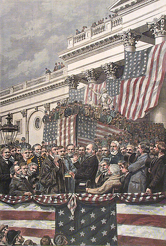 The Inauguration of President Garfield. By A. B. Frost. Published by Harper's Weekly. Wood engraving, 1881.  [James A. Garfield].
