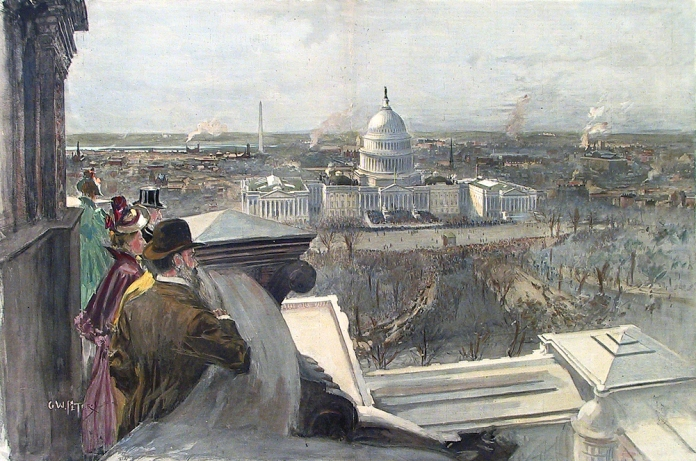 Inauguration Day in Washington.  View from the Dome of the New Congressional Library - Crowds Gathering to Witness the Ceremony at the East Front of the Capitol. By G. W. Peters. Published by Harper's Weekly. Hand colored wood engraving, 1889. [Benjamin Harrison].